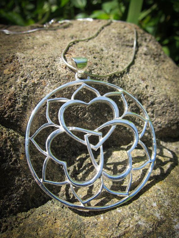 Anahata Heart Chakra Sterling Silver Pendant TRIPLE YUM Triple Heart Lotus Yoga Jewelry on Etsy, $46.24