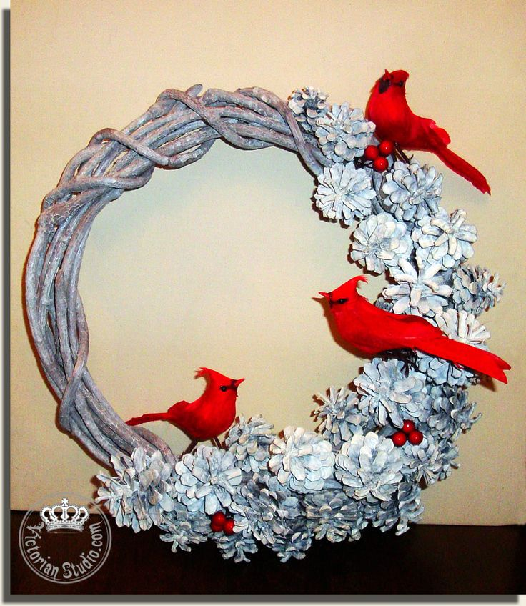 WOW!!! LOVE LOVE LOVE. White Wreath | Victorian Studio...love the white pinecones & Cardinals..maybe use evergreen wreath or frosted evergreeen wreath????