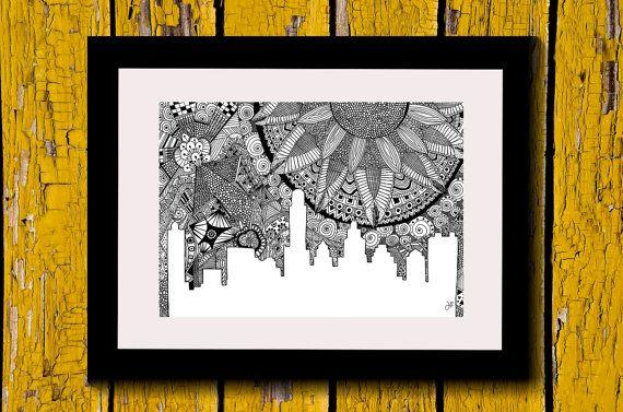 Wall Art, Drawing, Illustration, Zentangle Inspired, Patterns, Art, Print, Home Decor, Modern, Creative, Gift Idea, Cityscape, City, Horizon