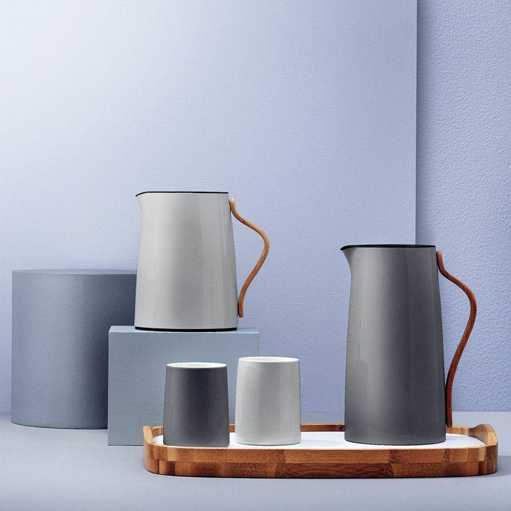 Isolierkanne Teekanne grau Buchengriff Stelton EMMA: Amazon.de: Küche & Haushalt