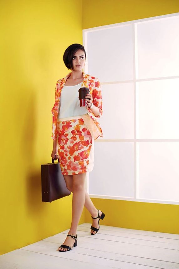 Summer print skirt, jacket & top: Professional, yet fun & stylish attire to wear at work. Shop for such professional styles online @ RedPolka