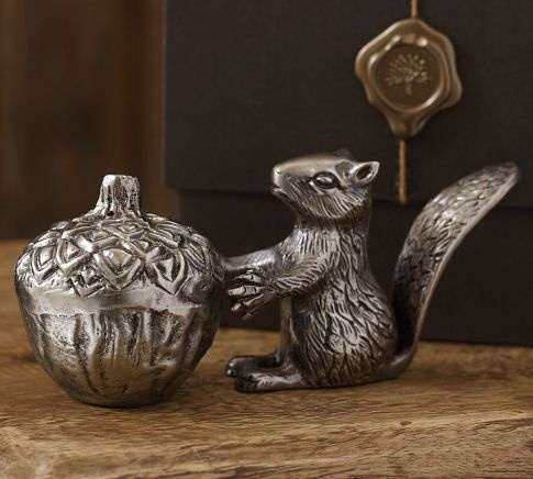 I have always loved Squirrelies!  This is just too cute!!     Squirrel Salt & Pepper Set | Pottery Barn