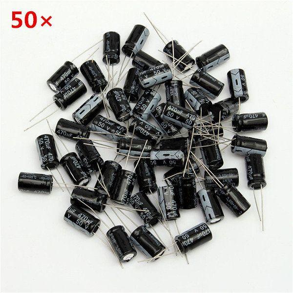 50pcs 470uf 50v 10 17mm E Cap Aluminum Electrolytic Capacitor Electrolytic Capacitor Capacitor Wire Terminals Connectors