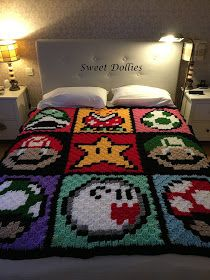 Sweet Dollies: MANTA CROCHET SÚPER MARIO BROS - CROCHET BLANKET