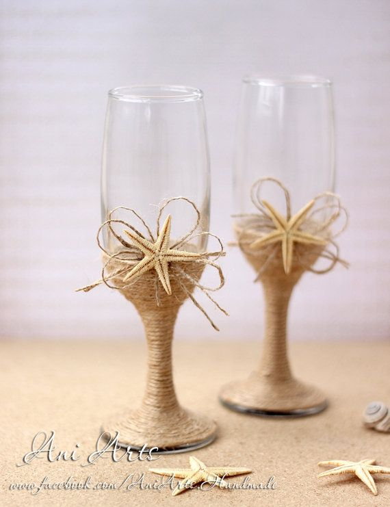 Beach Wedding Champagne Glasses Rustic Wedding Mr and by AniArts