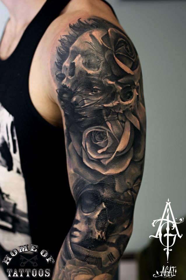 Custom work, done in 3 sessions) tattoo, tattoos, art, rose tattoo, skull, skull tattoo