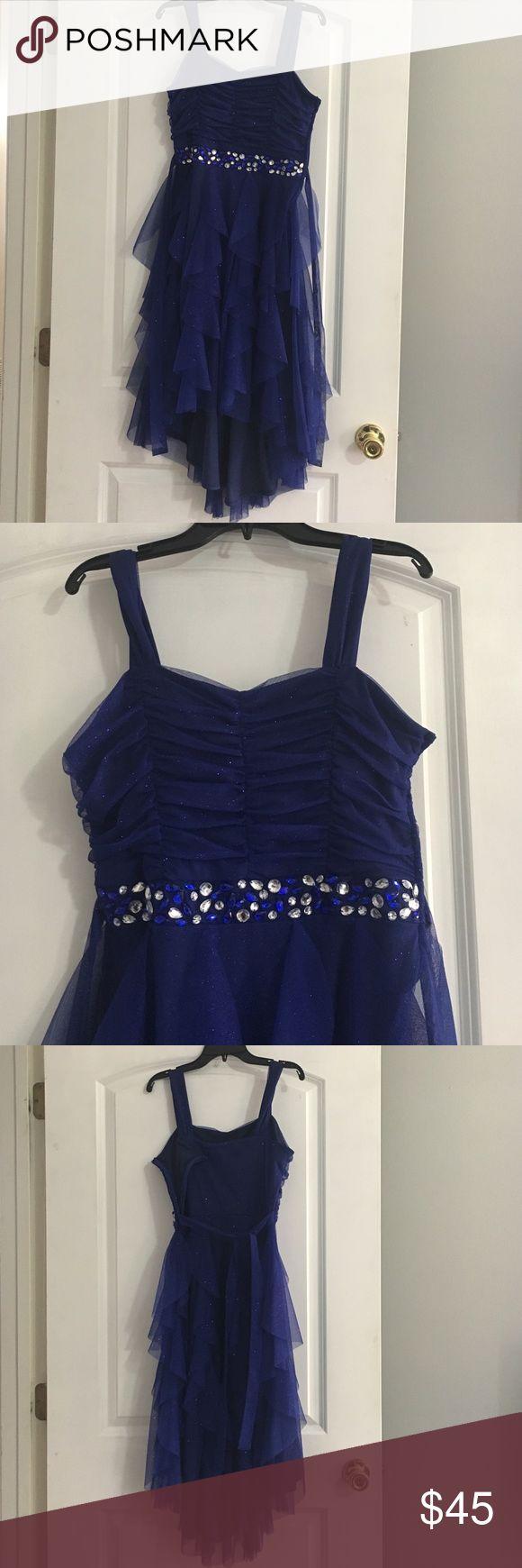 Gorgeous Royal Blue Dress Blue party dress with stone details. Side zip. Rear tie. Hi-Low style (back longer than front). Tween Diva Dresses Formal