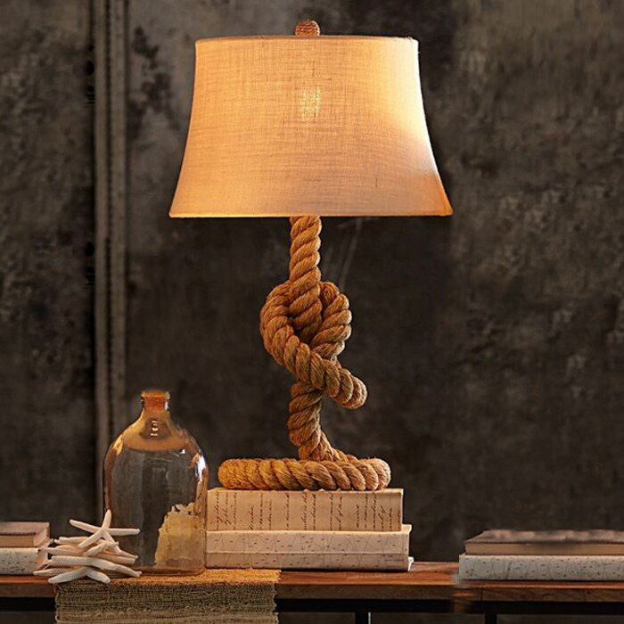 American Countryside Hemp Rope Desk Lamp Retro Table Lamp Bedroom Bedside Lights Vintage Bar Cafe Studyroom Iron Lamp Table Lamps For Bedroom Table Lamp Lamp