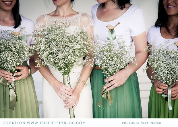 Frans & Stephne's Love Bird Wedding | casual green skirts + skinny brown belt + white top + babys breath bouquet + bird brooches