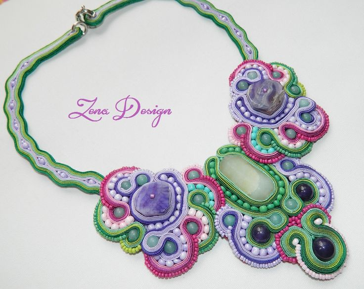 "Colier soutache ""Wisteria"" 