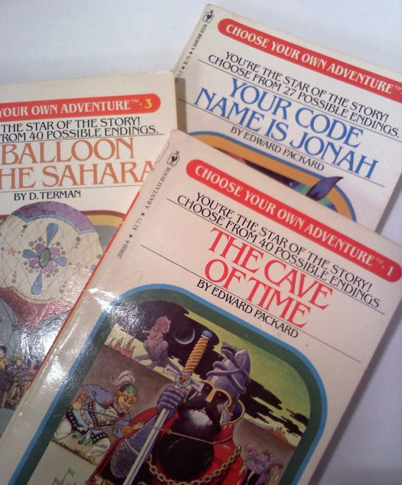 Vintage Books, Choose Your Own Adventure 1980s. I read mine til I knew what page to visit to avoid the shark, plane crash, etc.