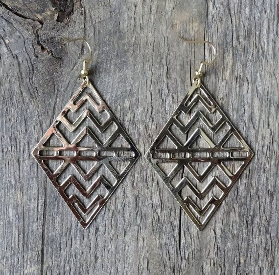 Boucles d'oreilles   earrings   chevron    gold plated   brass   laiton   acier inoxydable   stainless steel   bohemian   gypsy   fait au qc