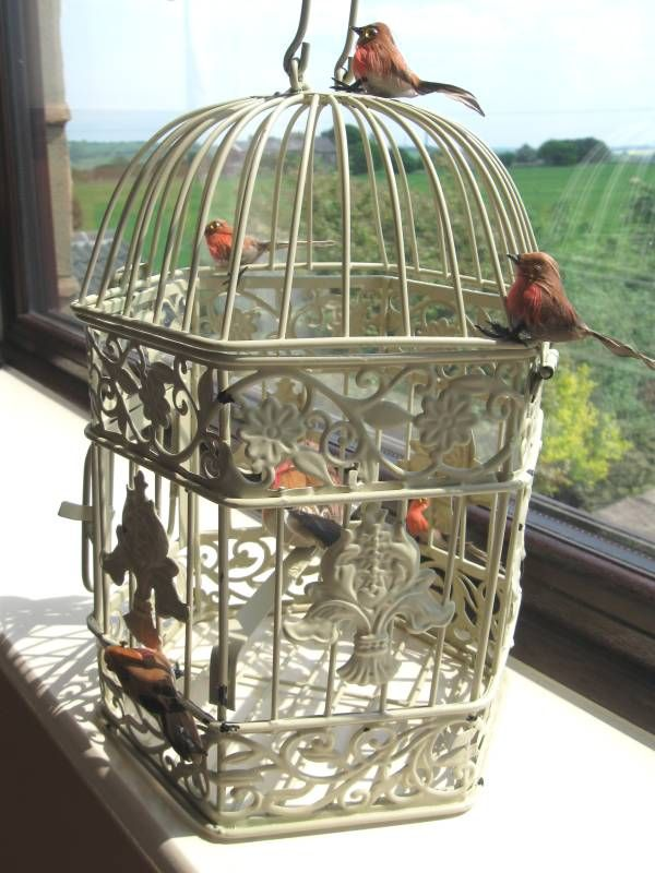 Shabby Chic Bird Cage Decor | Vintage Style Bird Cage Decorated with Robins
