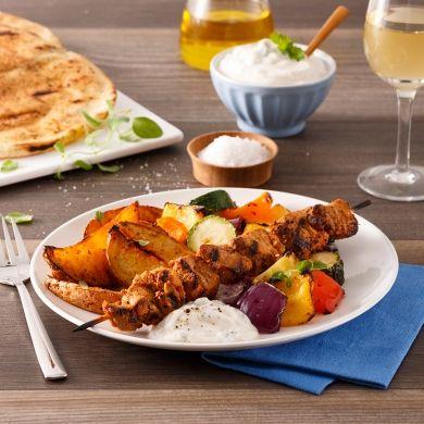 Souvlakis de porc à la grecque - Soupers de semaine - Recettes 5-15 - Recettes express 5/15 - Pratico Pratique