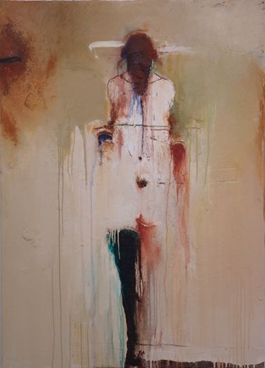 figure with black leg ~ mixed media on panel ~ by harry paul ally