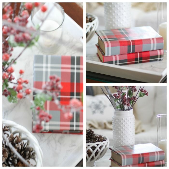 Winter Living Room   Love of Home. Decorating with Wrapping paper covered books! Simple trick to add color!