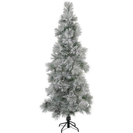 Vickerman Unlit 7' Flocked Stone Artificial Tree featuring 156 PVC Tips, Tree Stand is included, White