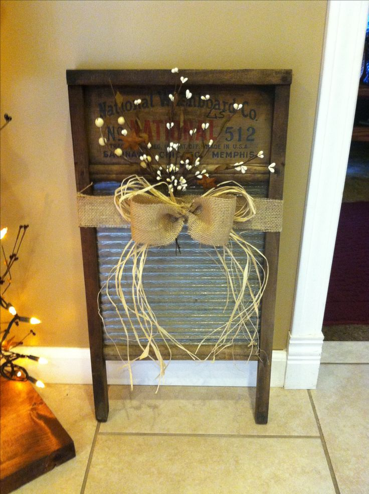 Old wash board my sister-in-law gave me. I LOVE IT!! Decorated it myself :)