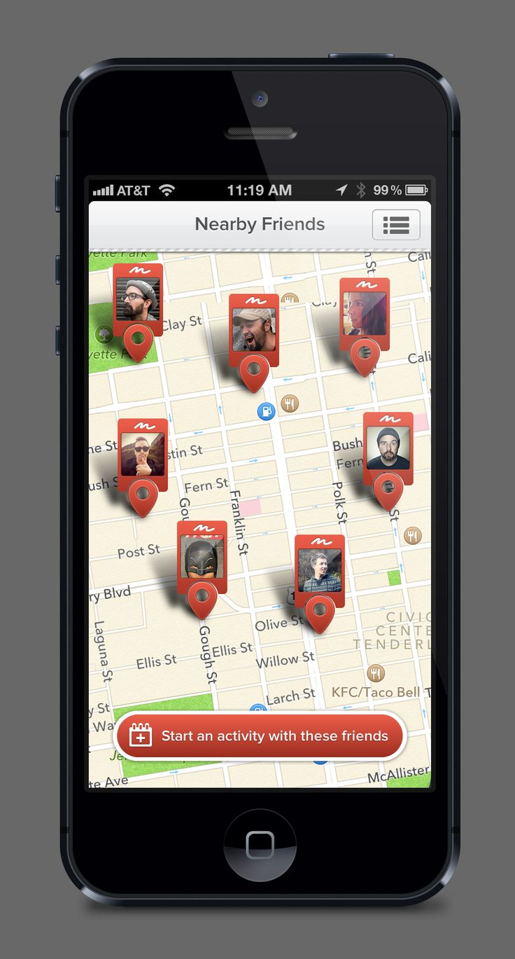 iPhone - Map of Nearby Friends