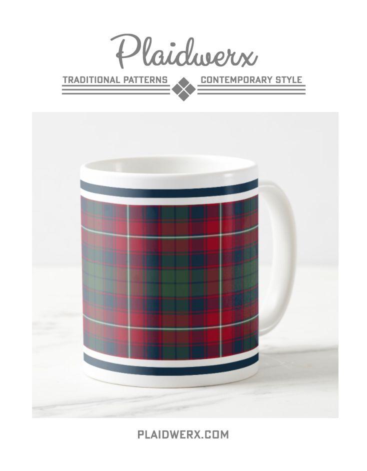Clan Robertson Tartan Monogrammed Coffee Mug - Ceramic mug, available in 11 or 15 ounce. Microwave and dishwasher safe. #robertson #tartan #plaid #scottish #coffeemug #mug #plaidwerx
