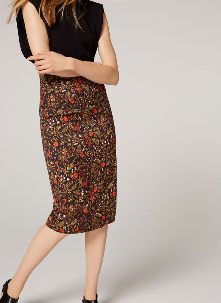 Floral midi pencil skirt - View all - New in - Uterqüe United Kingdom