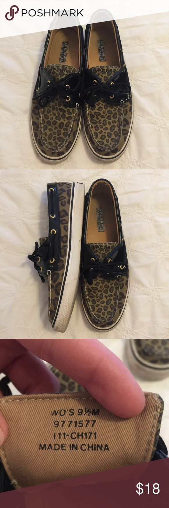 Woman's Leopard Sperrys - 9.5 Woman's Leopard Sperrys - Size 9.5 - sole needs a light cleaning but otherwise quality used condition Sperry Shoes