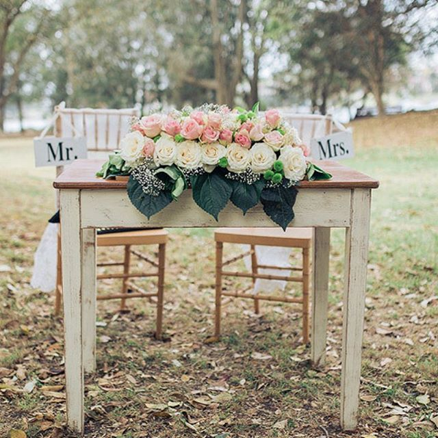 "Our ""Charlotte"" vintage signing table all dressed up. 