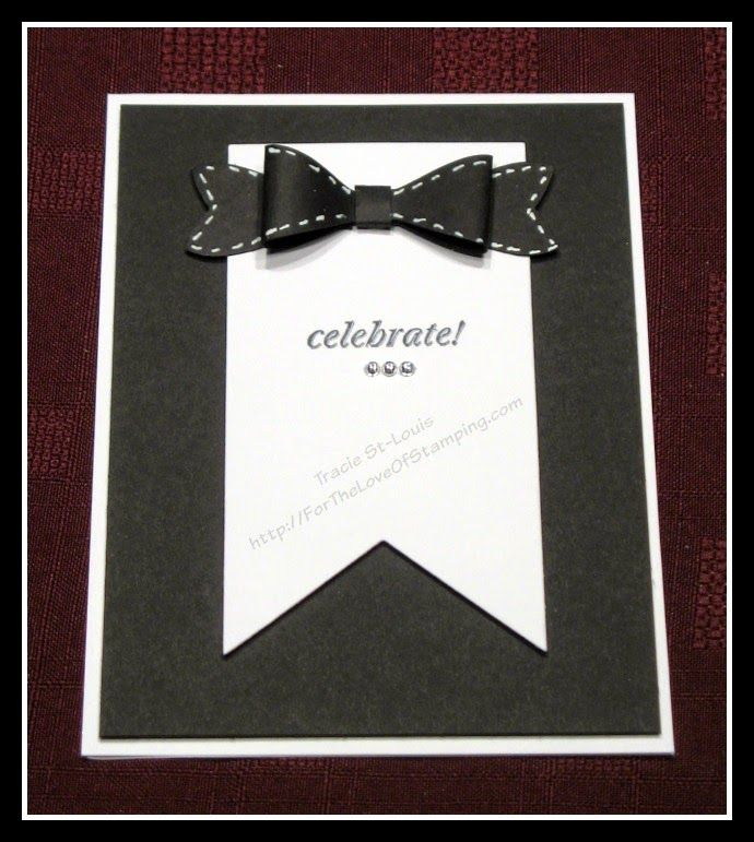 http://ForTheLoveOfStamping.com Tuxedo card made for New Years. Made with the Bow Builder punch from the new 2015 Stampin Up! Occasion catalog