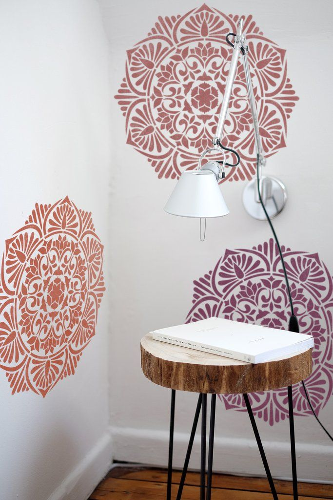 """Medallion Painting Stencil - Furniture Painting Stencil - Wall Painting Stencils - Mandala Wall Stencil * THE SIZE OF THE STENCIL THAT WE USE ON 1st PICTURE IS 20'' x 20"""" * NOTE: This is a reusable st"""