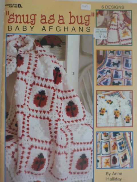 snug as a bug baby afghans by Leisure Arts to crochet, Anne Halliday, six afghan patterns by CarolsCreations77 on Etsy