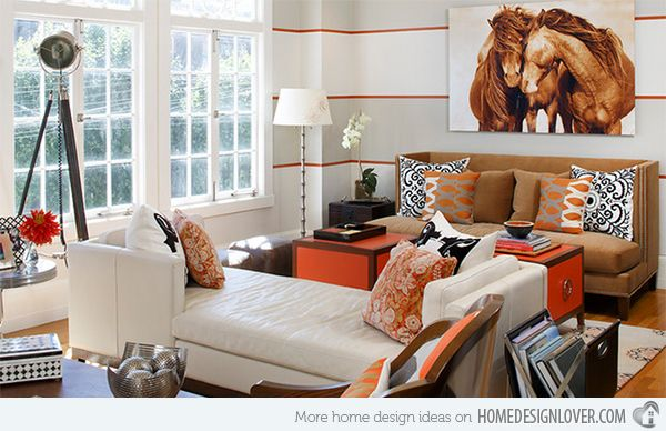 15 Striped Walls Living Room Designs