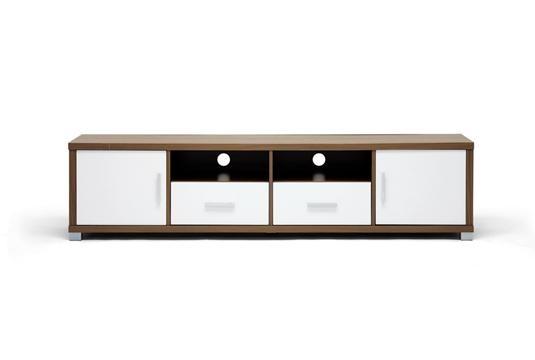 Baxton Studio Chisholm Walnut Effect Modern TV Cabinet with White Doors  Price: $136