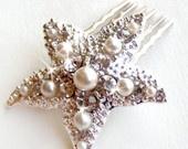 Starfish Comb - Pearl and Rhinestones  - Vintage Style Brooch - Silver - Beach Wedding