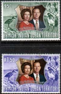 1972 British Indian Ocean Territory Royal Silver Wedding Set Fine Mint SG 42 3 Scott 43 4 Other Asian and British Commonwealth Stamps HERE!