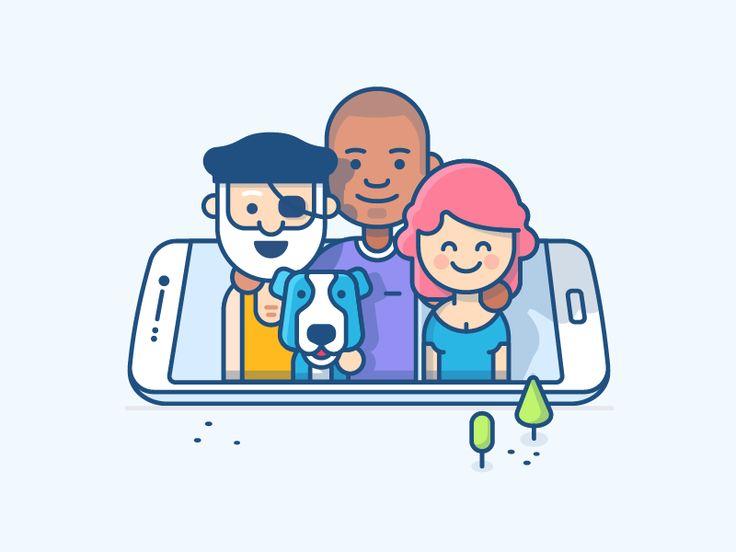 Teamwork Illustration - Mobile by Andrew McKay #Design Popular #Dribbble #shots