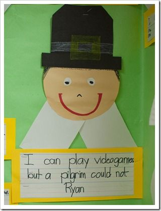 After completing our Venn diagram, the kids had a choice between two different writing prompts, I can__________, but a pilgrim could not. OR I have ___________, but a pilgrim did not.