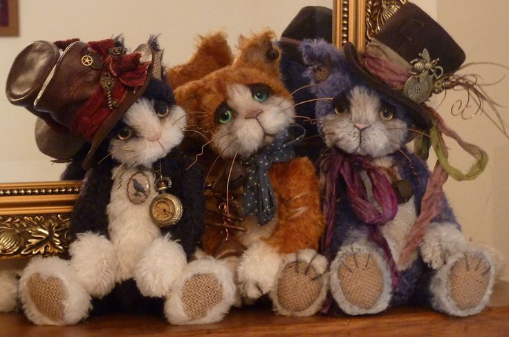 Mohair soft sculpture steampunk cats..........by Paula Drage