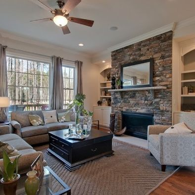 TV/Fireplace Combo with Built-in Bookshelves for the Family Room