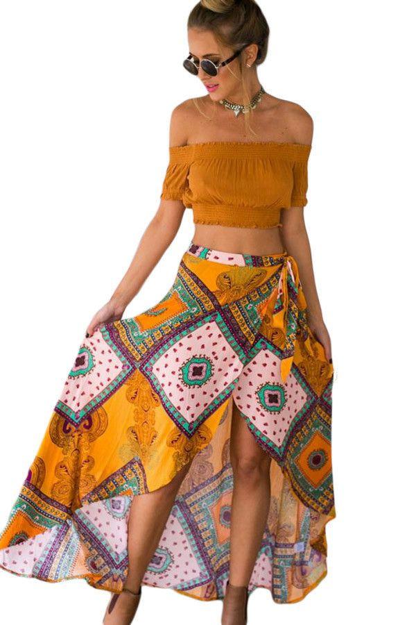 Boho Dream Tie Waist Tribal Print Asymmetrical Maxi Skirt