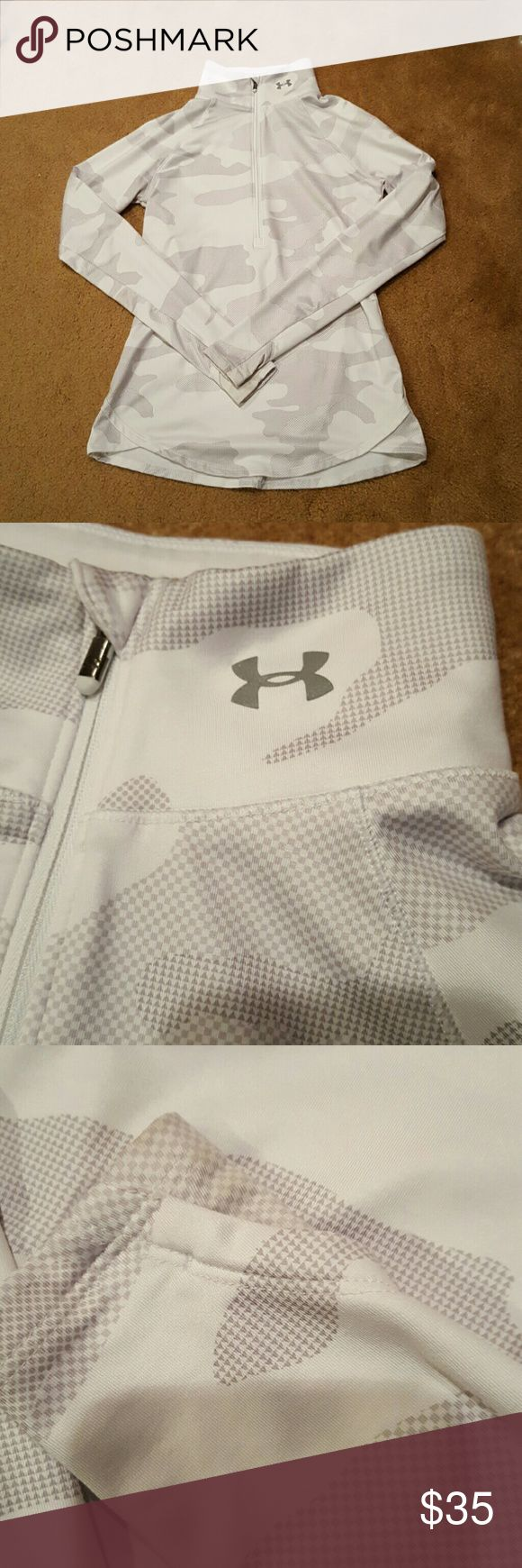 Under Armour half compression zip jacket White and silver Under Armour half zip compression sports jacket. Price is always negotiable but no lowballing please Under Armour Jackets & Coats