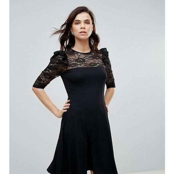 ASOS TALL Mini Swing Dress With Lace Panel And Frill ($17) ❤ liked on Polyvore featuring dresses, black, mini swing dress, ruffle cocktail dress, swing dresses, flutter-sleeve dresses and asos cocktail dresses