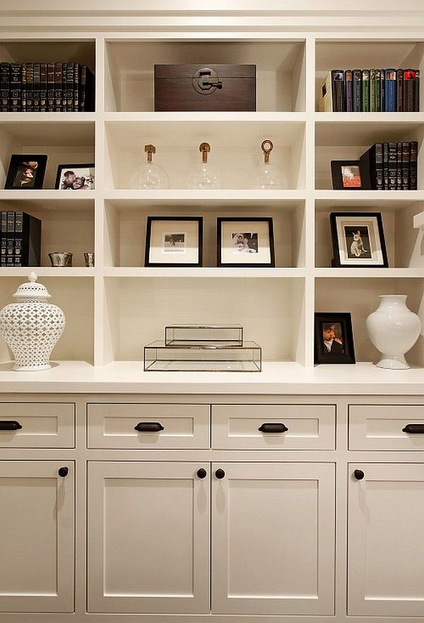 white traditional living room with box shelves