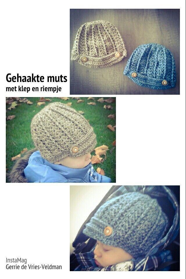 Gehaakte muts met klep en riempje. Voor patroon zie  renatehakenenzo.blogspot.nl/2014/10/patroon-van-muts-met-klep Crochet newsboy hat
