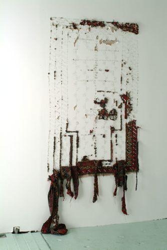 Elana Herzog, Civilization and its Discontents 2003 installation view at Smack Mellon, Brooklyn, New York  Persian and Persian type carpets, mixed fabrics, metal staples, Dimensions variable