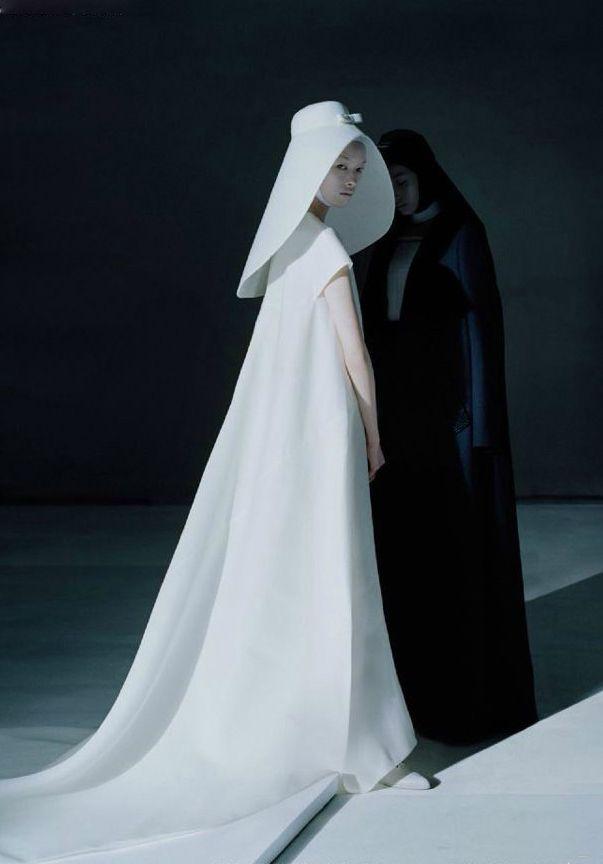 Fei Fei Sun and Xiao Wen Ju wear archive Balenciaga (1967) for Vogue - Tim Walker