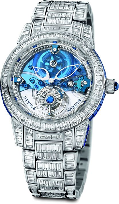 This expensive watch from Ulysse Nardin is made in platinum. The company was founded in 1846. The watch is decorated with 568 baguette-cut Top Wesselton diamonds (33.8 carats) and 234 baguette-cut royal blue sapphires (16.79 carats). It has a limited edition of 30 pieces. The watch is also available with leather strap.