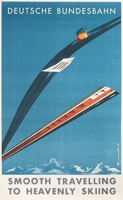 Modlich poster: Deutsche Bundesbahn - Smooth Travelling to Heavenly Skiing