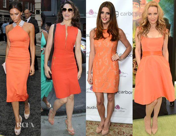 Orange dresses trend: Orange Coral, Celebrities Love Orange, Orange Obsession, Love Orange Dresses, Beautiful Orange