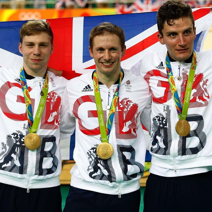 Philip Hindes, Jason Kenny and Callum Skinner win gold and getting an Olympic record in the Men's Team Sprint Track Rio 2016