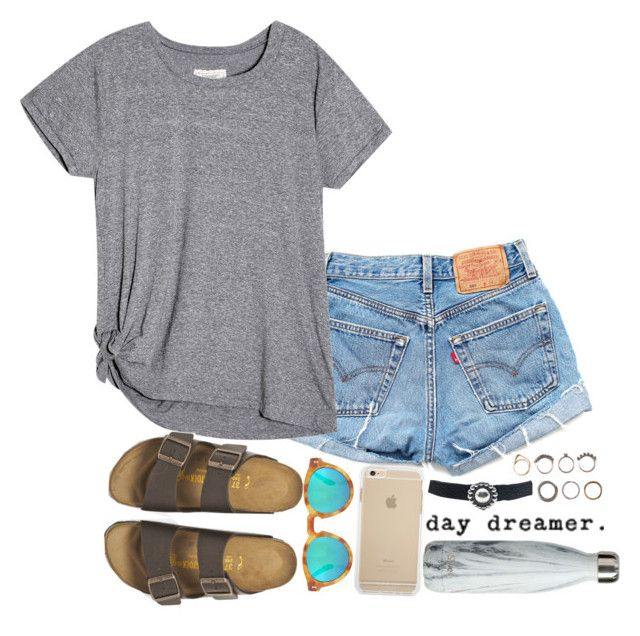 """day dreamer."" by mhallmark ❤ liked on Polyvore featuring Levi's, Child Of Wild, Illesteva, Birkenstock and Iosselliani"